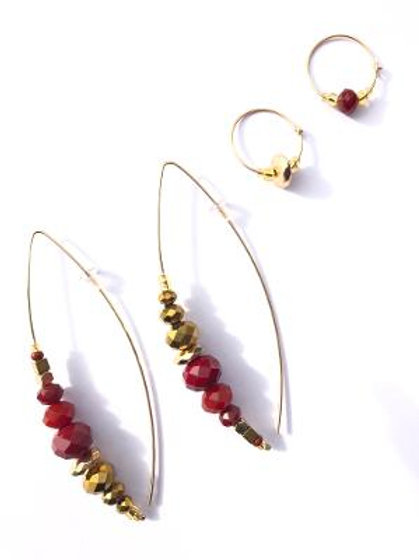 cheers to bordeaux & gold crystal 4 piece earring set