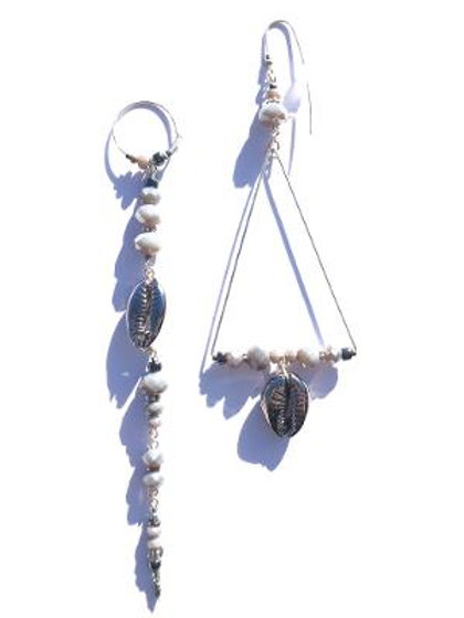 empress sterling silver & grey crystal with gunmetal cowrie shell earrings