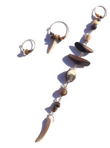 desert flower ebony, abalone shell & tiger eye 3 piece earring set