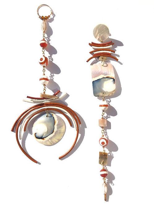 pumpkin pie & ice cream nautilus shell with pumpkin & white leather earrings