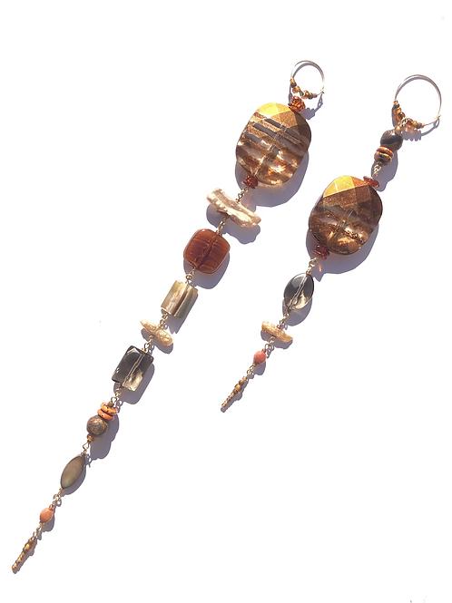 salted caramel smoky quartz , fresh water pearl & acrylic earrings