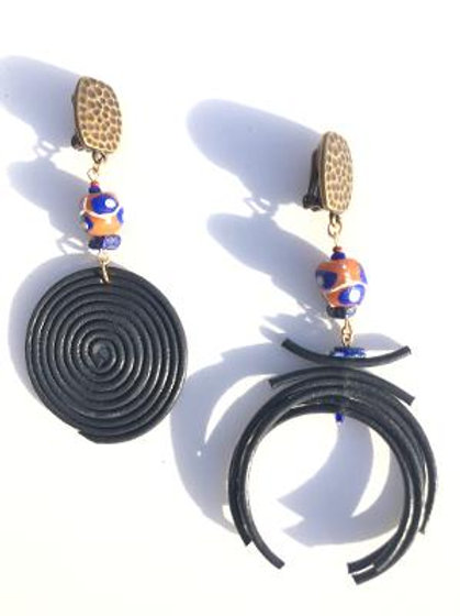 navigating life navy leather, lapis lazuli & trade bead clip on earrings
