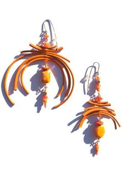 that warm lovin' orange leather & marigold crystal earrings
