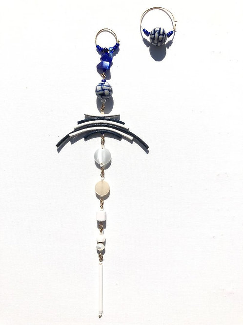 blue lagoon blue & white leather & porcelain shoulder duster and hoop earrings