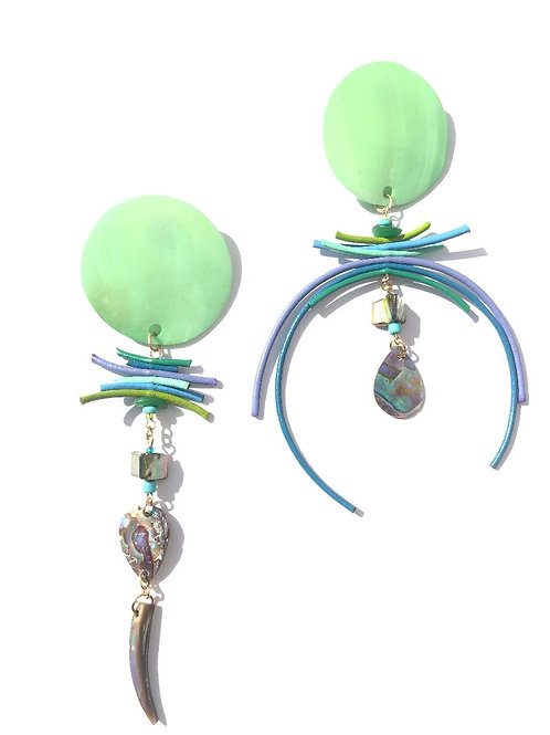 mighty mighty mint green mother of pearl & leather clip on earrings