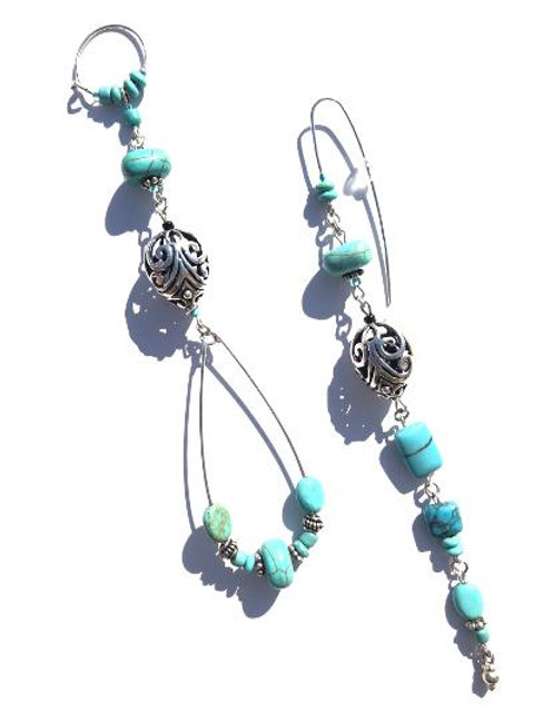 style superb sterling silver & turquoise earrings