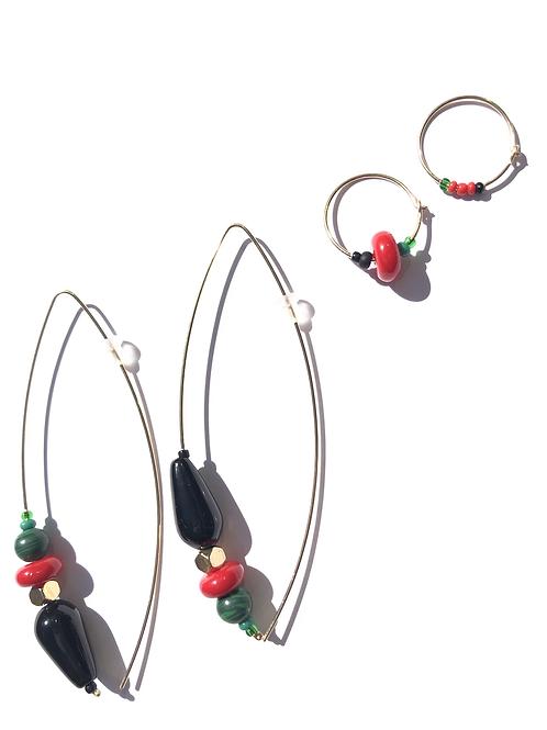 quite liberating black onyx, malachite & glass 4 piece earring set