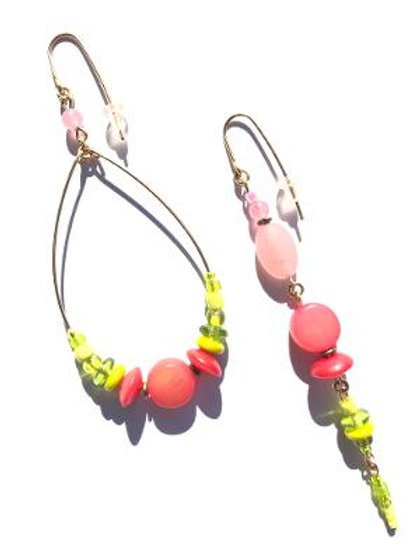 candy apple bubblegum pink horn & lime green earrings