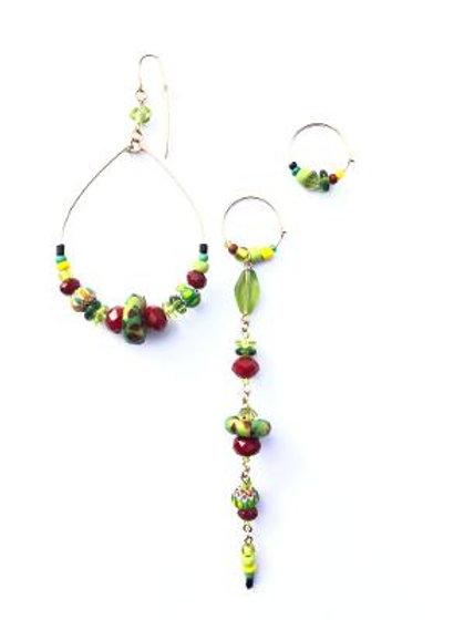bring it bordeaux crystal, trade bead & peridot 3 piece set