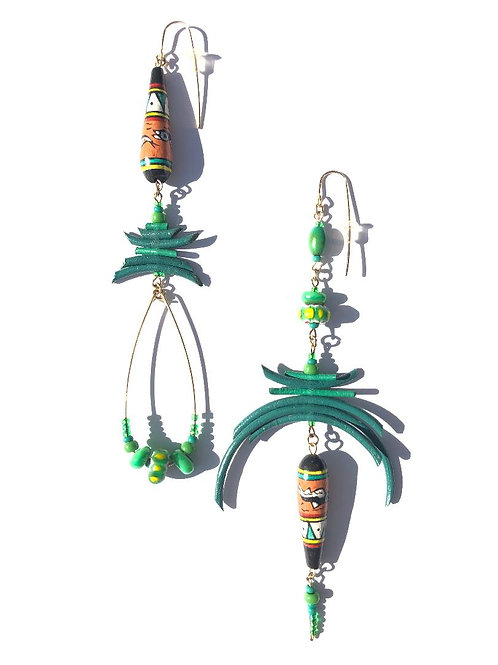 indigenous dreams green leather & peruvian ceramic earrings