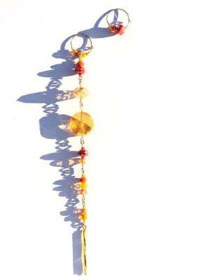 firelight yellow, orange & red crystal shoulder duster & hoop earrings