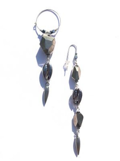 rock and roll rock quartz & cowrie shell earrings