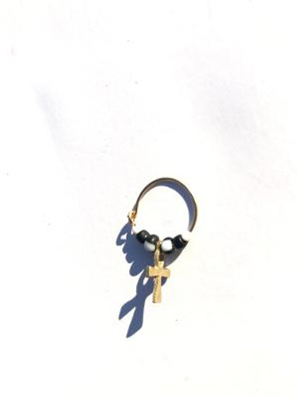 chalkboard black and white glass & brass ankh single earring