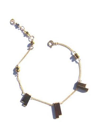 rockin' the world gold rock quartz & crystal anklet