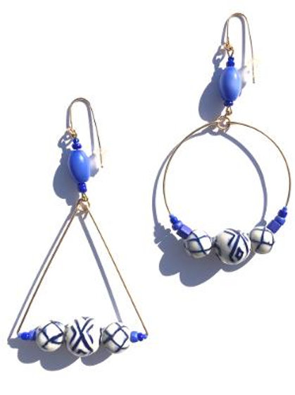 loving me for me porcelain circle & triangle earrings
