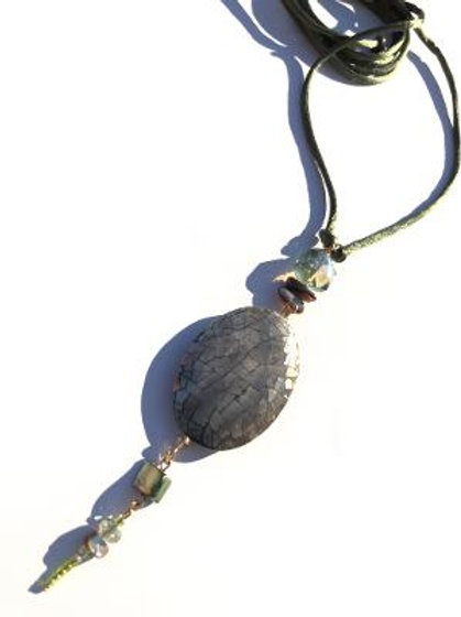 flirting with myself crushed green abalone shell & crystal neckpiece