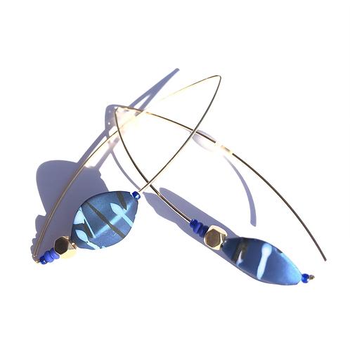 nite nite blue & black acrylic & quartz earrings