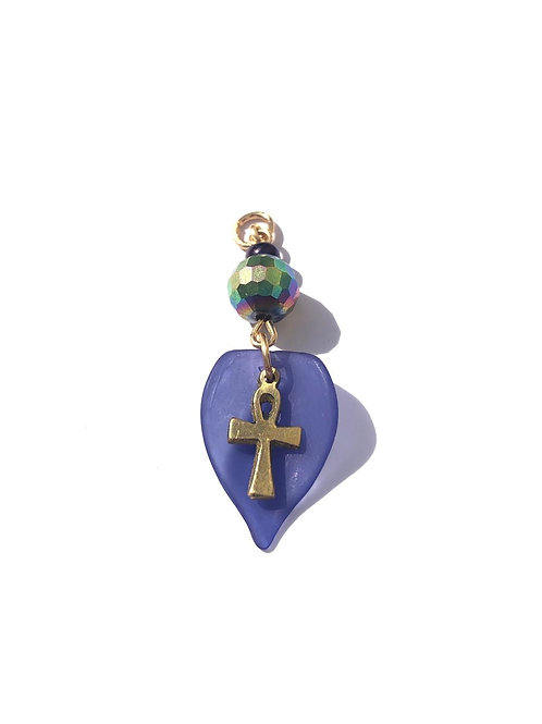 eternal skies crystal, blue glass & brass ankh loc charm