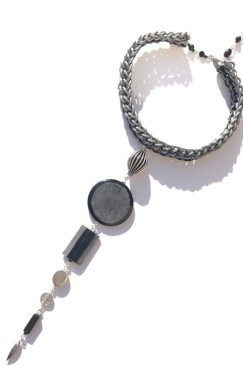 deep surrender silver & black leather with silver & buffalo horn choker