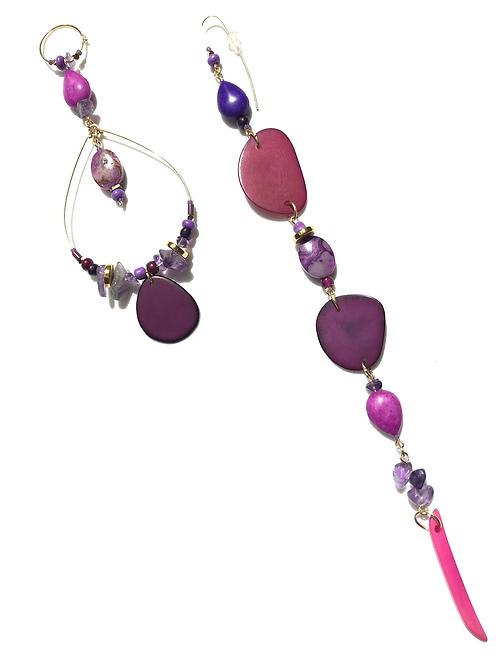 violet breeze tagua nut, amethyst & howlite earrings