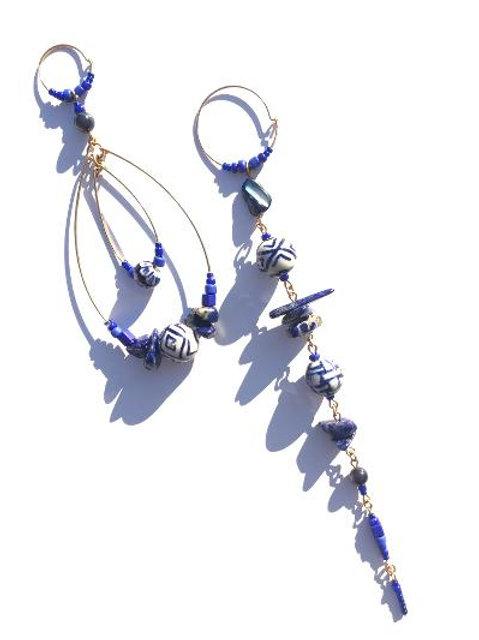 my own beauty navy blue & white porcelain & lapis lazuli earrings