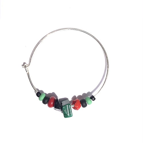 strong song malachite, sterling silver & glass single hoop earring