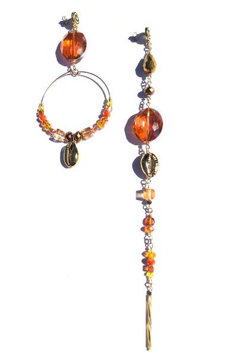 sundrop orange & gold crystal with gold laminated cowrie shell earrings
