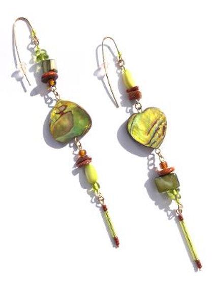 earth sings lime green paua shell & goldstone earrings