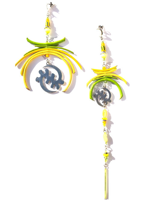 cocktail time lime & lemon leather with silver gye nyame earrings