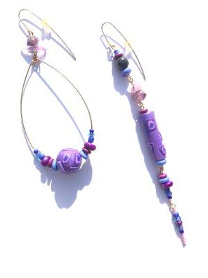 on purpose purple polymer clay, amethyst & cat's eye earrings