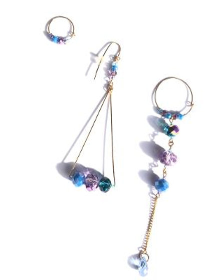 spicy icy blue & purple crystal 3 piece earring set