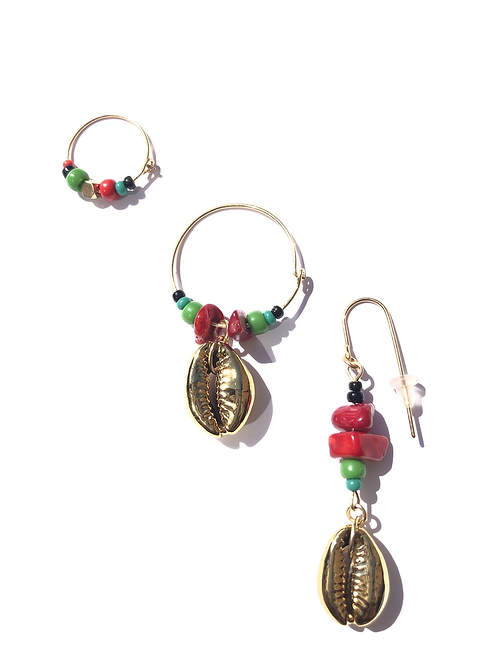 of the motherland red coral & gold cowrie shell 3 piece earring set