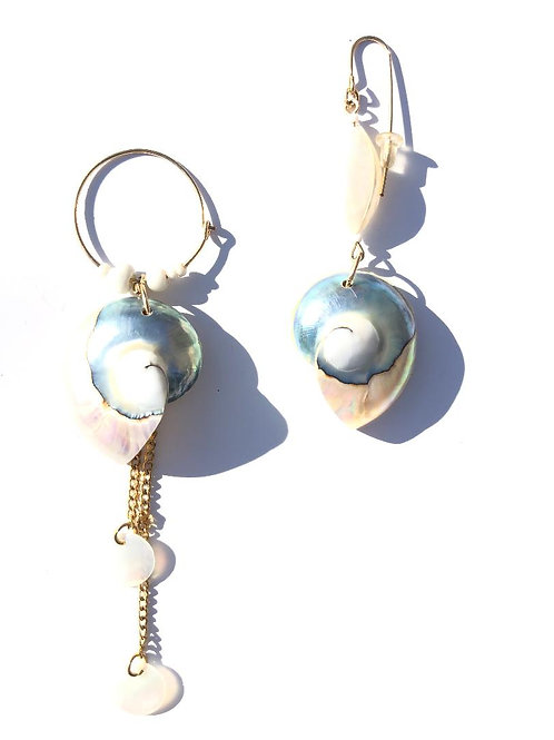 in the clouds nautilus & mother of pearl earrings