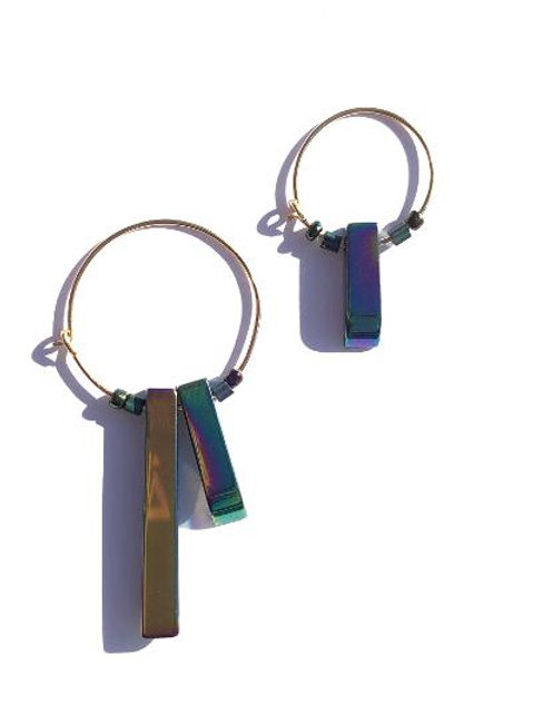 supernova blue, green & purple titanium quarts hoop earrings