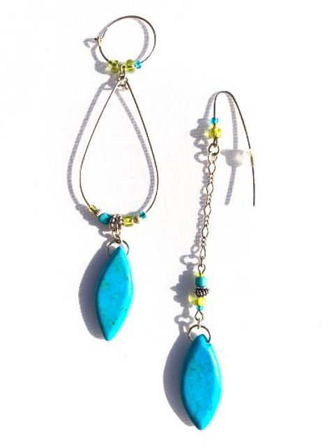 tropical treat sterling silver & turquoise howlite earrings