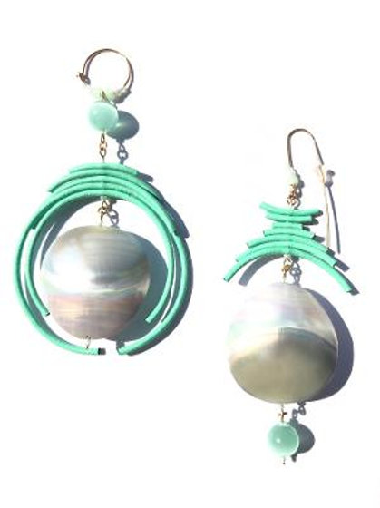 pillow talk mother of pearl & mint green leather earrings