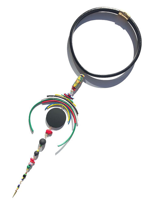 motherland memories south african flag leather with trade beads choker