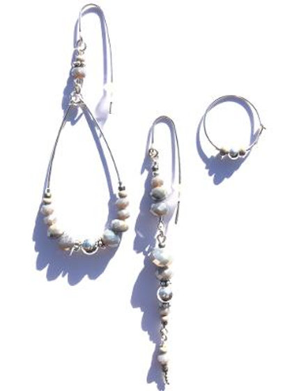 sun above the clouds sterling silver & grey crystal 3 piece earring set