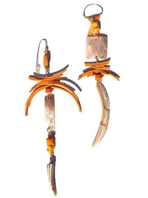 hugs on tap abalone shell & orange leather earrings