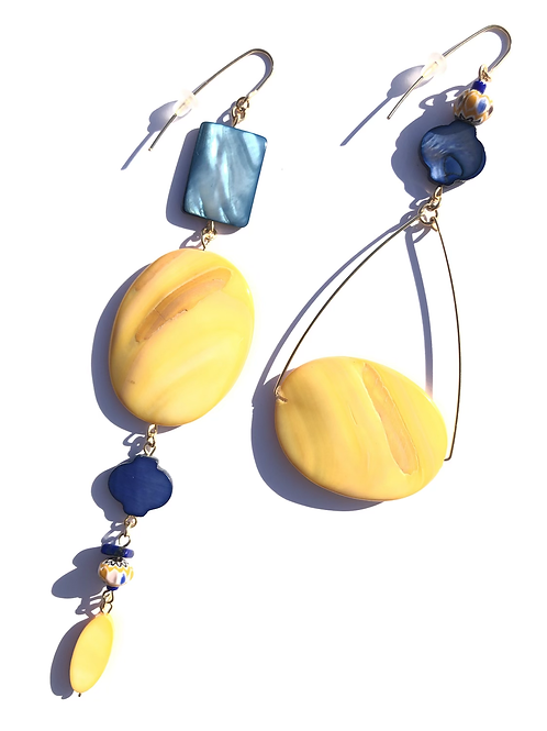 trade winds yellow & navy mother of pearl earrings