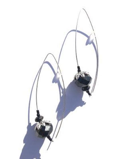 ink black crystal & sterling silver earrings