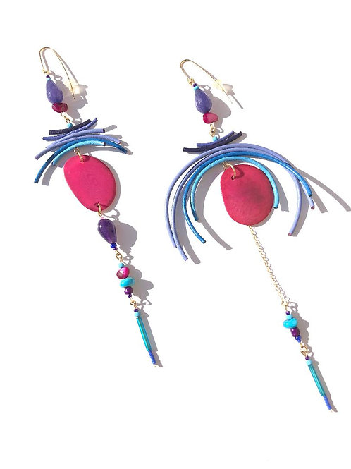 cocktail time pink chestnut with purple & blue leather earrings