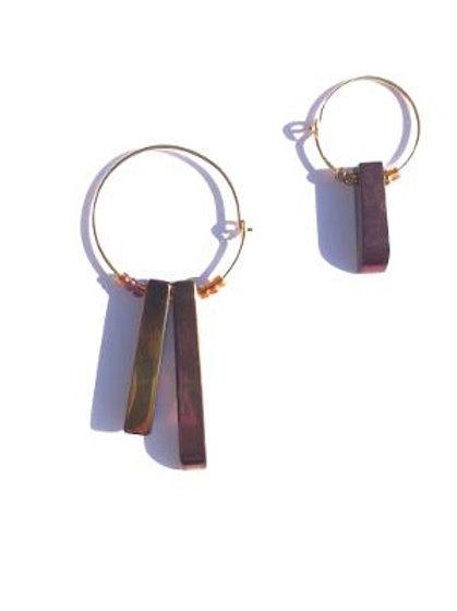 purplish greenish quartz hoop earrings