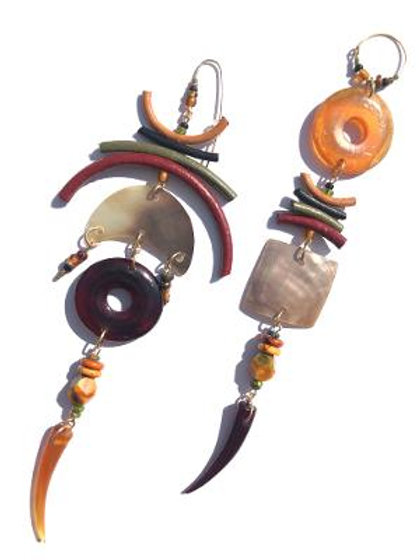 high times horn, leather & abalone shell earrings