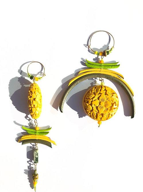 wear the sunshine yellow cinnabar with olive, lemon & lime earrings