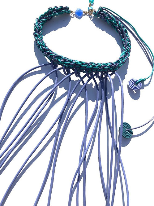 you know you're fabulous purple & turquoise leather choker