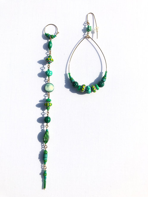 magnificent muse malachite, venetian trade beads & clay earrings
