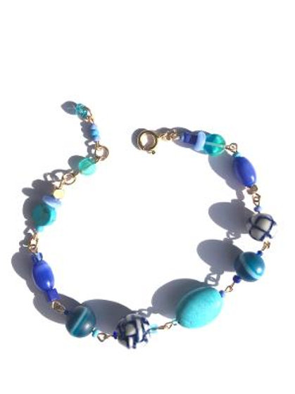 tame the wild turquoise, porcelain & blue agate bracelet