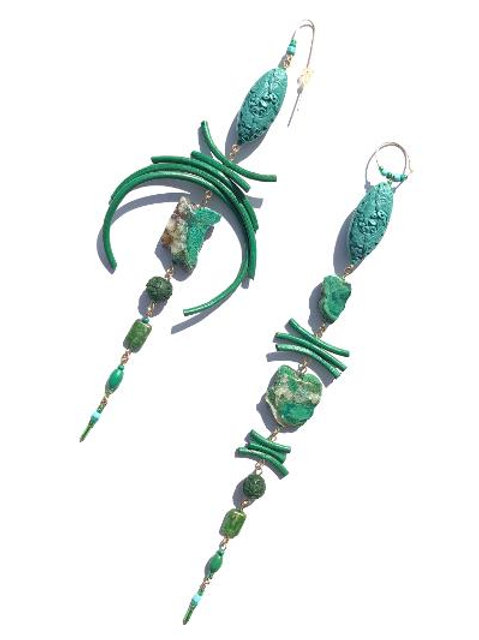 treasures abound turquoise & green cinnabar, leather & chrysocolla earrings