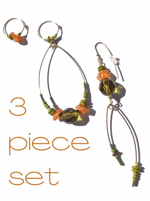 on ans on olive green, bone & acrylic 3 piece earring set